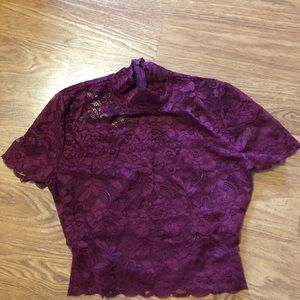 Guess Burgundy lace crop top